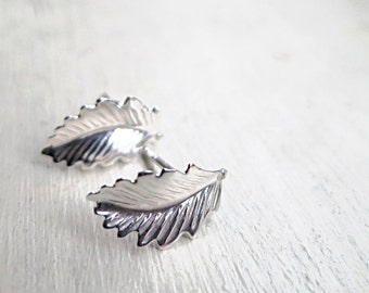 Sterling silver leaf earrings, studs, small leaves, Nature inspired jewelry