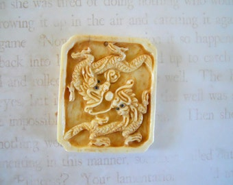 Large Hand Carved Bone Dragon  Pendant Bead