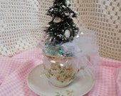 Vintage Made in German Tea Cup and Saucer with Bottle Brush Tree, Holiday Accented with White Roses, Hand Created, ECS