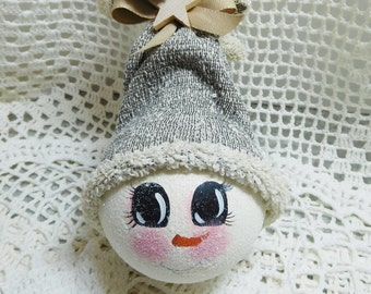 Winter Farmhouse  Tweed Stocking Hat Snowlady Light Bulb Ornament, Hand Painted, Collectible,ECS