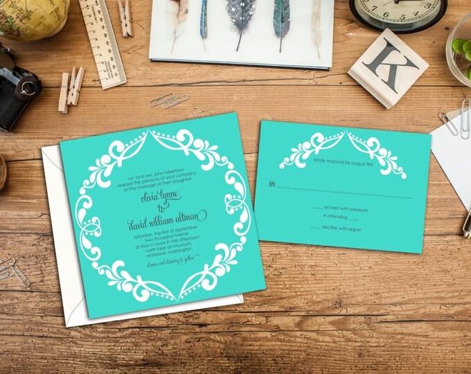 Bright Filigree Wedding Invitation Set, 5.25 x 5.25 Square Invitations, Unique Wedding Invites, response cards, Casual Elegance Wedding