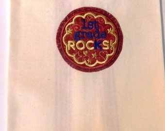1st Grade Rocks Embroidered Kitchen Towel; Teacher Gift; Kitchen Towel,1st Grade,Teacher love