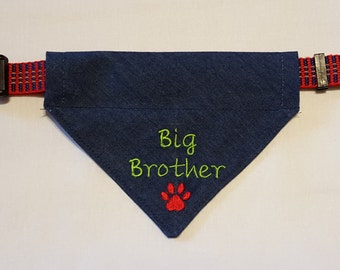 Big Brother Dog Bandana, Over Collar, Bandana, Denim Dog Bandana, Big Brother, Pet Accessories, Denim, Dog Scarf, Dogs, Pets, New Baby