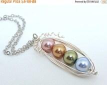 ON SALE 15% OFF Custom Mothers Birthstone Family Pea Pod Necklace Jewelry Swarovski Pearls Silver Gold Birth Month Grandma Pendant