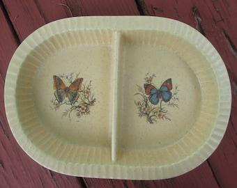 Vintage Divided Serving Dish - Treasure Craft Stoneware - Butterflies