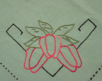Vintage Luncheon Cloth and Napkins - Veggie Embroidered Cutters - Imperfect