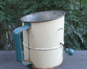 Vintage Tin Flour Sifter - Blue and White Fruit - Farmhouse Finds