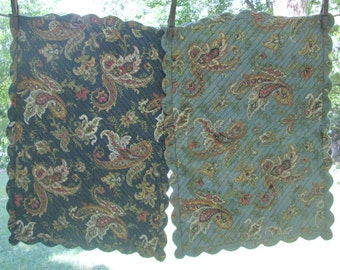 Four Vintage Reversible Quilted Placemats - Blue Paisleys