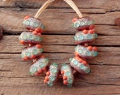 Mini Donuts in amber-aqua-coral (set of 10 lampwork beads, 5mmX10mm)