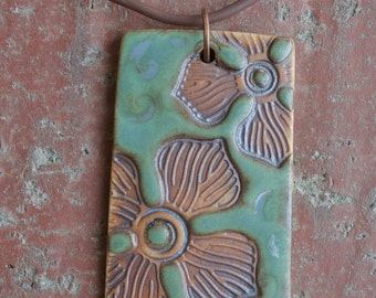 Rustic Flowers on Blue and Satin Green Porcelain Pendant