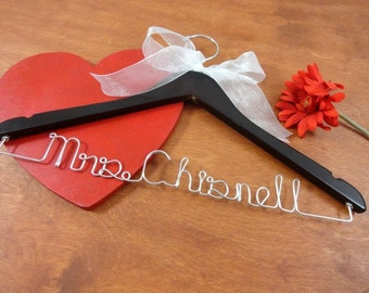 Name Dress Hangers - Personalized Dress Hanger - Wire Name Hanger - Wedding Name Hanger - Last Name Hanger - Bridal Party Hangers - Custom