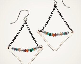 geometric earrings rainbow mixed gemstone earrings amethyst citrine ruby garnet sapphire topaz spinel gemstone earrings multi color earrings