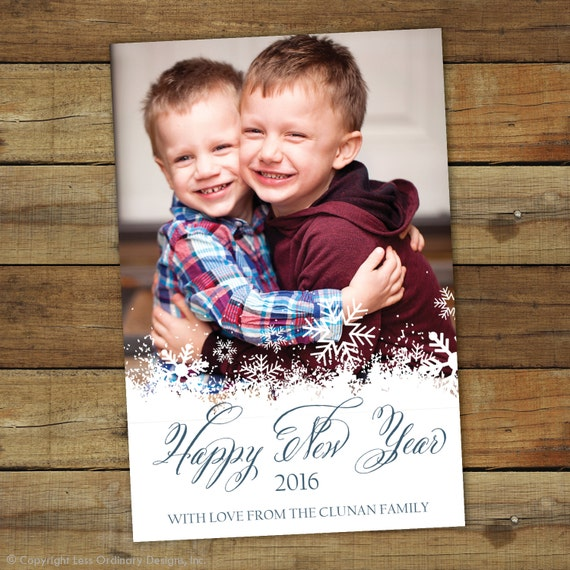 Snowflakes new year photo card, CLassic holiday card, 2017 new year photo card, printable new year card, printable or printed cards