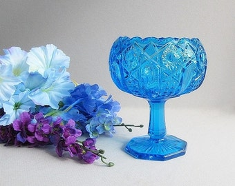 Vintage Blue Bowl, Pedestal Bowl, Blue Footed Bowl, Blue Glass Compote, Ivy Bowl, Rose Bowl, Heritage Quintec