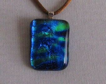 Jewelry #Necklace #Pendant #BLue Green #Dichroic Kiln Fired Glass