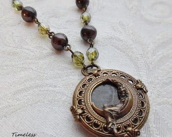 Dream Weaver, Antique Mother of Pearl Button Necklace (Brass Ox)-Style#3