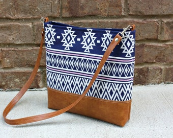 Navajo Southwestern Bag with Faux Leather Strap