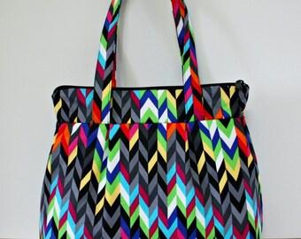 Multi Color Chevron Pleated Handbag