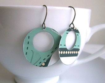 Mint Blue Disc earrings - Mod Dots - recycled enammeled vintage tin on brass - handmade
