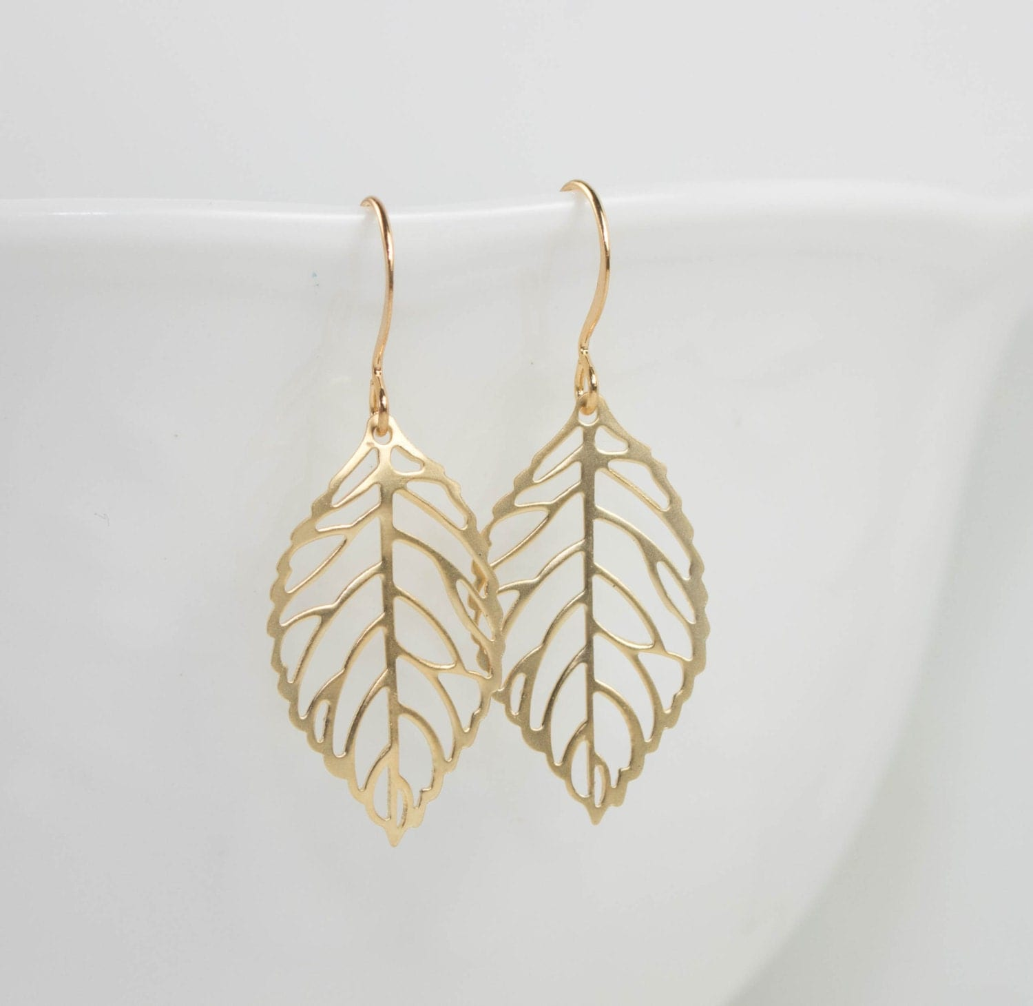 Gold Leaf Earrings Gold Earrings Simple Gold Earrings Leaf