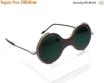 Steampunk Goggles Antique Willson Steampunk Glasses with Dark GREEN Tinted Glass, WIDE Wooden Frames EXQUISITE by edmdesigns
