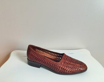 Jessie - Whiskey Brown Woven Leather Flats. Size 7.5