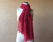 Long Red Scarf Red Long Scarf with Fringe, Red Scarf Hand Knit Red Scarf Dark Red Scarf