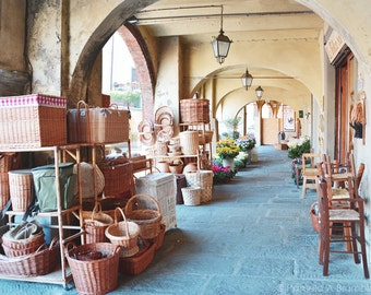 Tuscany Italy Market Photo Basket Flower Greve in Chianti, Wall Art, Poster, Print, Wine Country, Italian Village Home Decor, Rustic Art