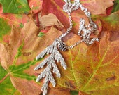 Cedar frond necklace, rustic winter necklace, silver-plated evergreen jewelry, woodland necklace, nature themed jewelry