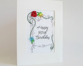 90th Birthday card, embroidered greeting card, special birthday card, milestone birthday, silk ribbon card, handmade card, ribbon embroidery