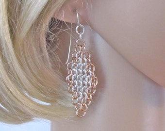 Argentium Sterling Silver and Bronze Chainmaille Earrings - Euro 4 in 1 Earrings - Diamond Shaped Chainmail Earrings - 315039