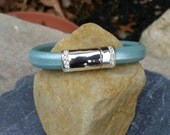 10mm Metallic Mint Green Regaliz Licorice Leather Bangle Bracelet with Magnetic Clasp