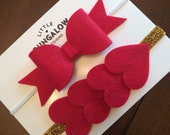 Valentines Day Headband // Red hearts // Heart Headband // Red Bow Headband // Gold glitter // Red and gold headband