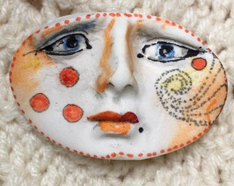 clay face  polymer   jewelry craft supplies oval handmade cabochon mosaic doll tile fairy goddess spirit polymer findings  zentangle