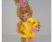 Easter Decoration Bunny Girl  and Her Pet Chick Easter Decoration Easter Decor for Easter Party