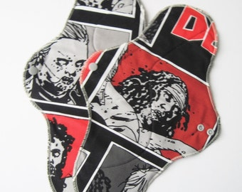 Set of 2 Mama Cloth Pad With Wings .. 14 inches Postpartum Heavy Flow - The Walking Dead Printed Cotton FREE Shipping