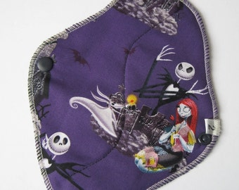 Cloth Menstrual Pad / Cloth Pad  .. 8 inch  Jack Skellington Printed Cotton Regular / Average FLOW  and FREE Shipping