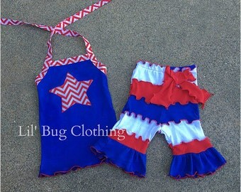 4th Of July Outfits, 4th Of July Girls Short & Halter Top, Red White Blue Chevron 4th Of July Outfit, Pageant Wear 4th Of July Outfit