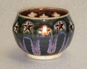Black Votive Candle Holder or Luminary with Star Cut-outs - Wheel Thrown Pottery with Blue and Pink Highlights