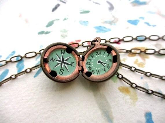 Oil-Painted Mini Compass and Clock Hidden in Brass Ball Locket, Original Handmade Art