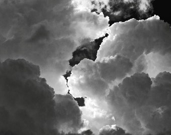Stormy Cloudscape, Black and white sky photograph, cloud photography, storm clouds