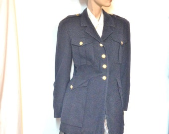 Ralph Lauren Navy Jacket Vintage 70s Made in USA Size 10 Wool Cashmere military Steampunk