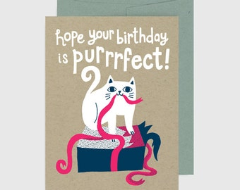 Cat Birthday Card - Purrrfect Birthday