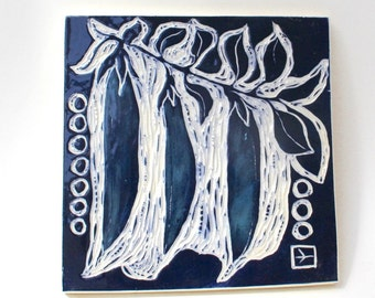 Spring pea pods in indigo hand carved ceramic art tile