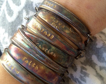 Patina ID stamped spoon bracelet