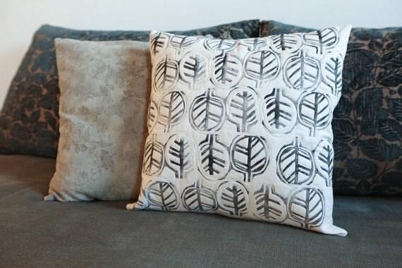 Handprinted Quilted Modern Pillow Neutral Decor 17x17