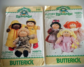 2 Packages Vintage Cabbage Patch Kids Clothing Patterns Raincoat Boots and Dresses Iron on Transfer and Transfer Sheet