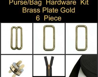"1 SET - 1 1/4"" - 6 Piece Kit - BRASS Plate GOLD - Metal Handbag Purse Hardware - Slide, Rings, Zipper, Webbing and Magnetic Snap"