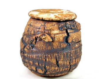 Ceramic Vase - Rough Bark Texture - Handmade Sculpture Pottery - Work of Art - Wheel Thrown Centerpiece - Ships Today