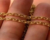 Gold Bronze Chain, Elongated Link Chain, Sold by the Foot